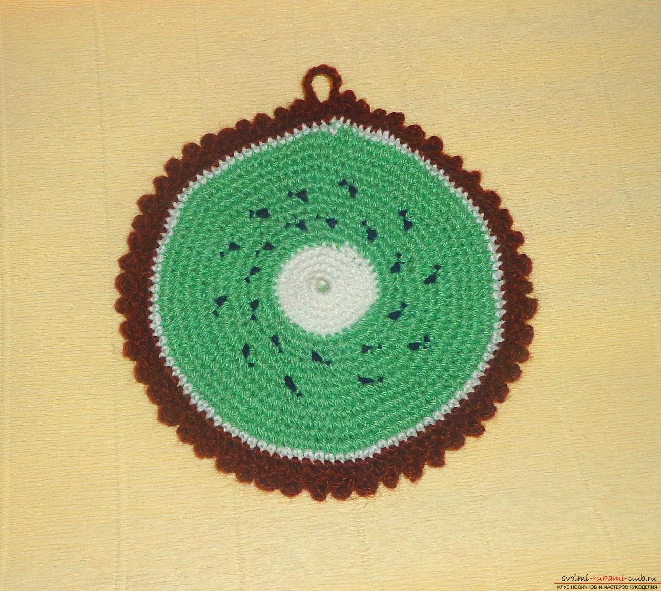 Урок по вязанию крючком прихватки для горячего Киви с описанием шагов и фото. Фото №11