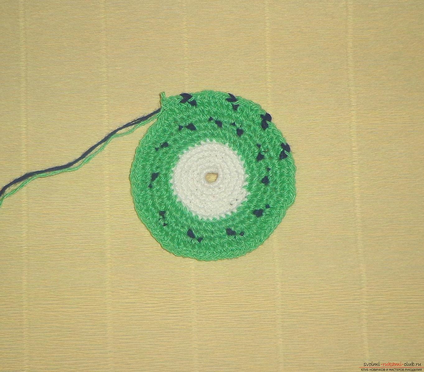 Урок по вязанию крючком прихватки для горячего Киви с описанием шагов и фото. Фото №3
