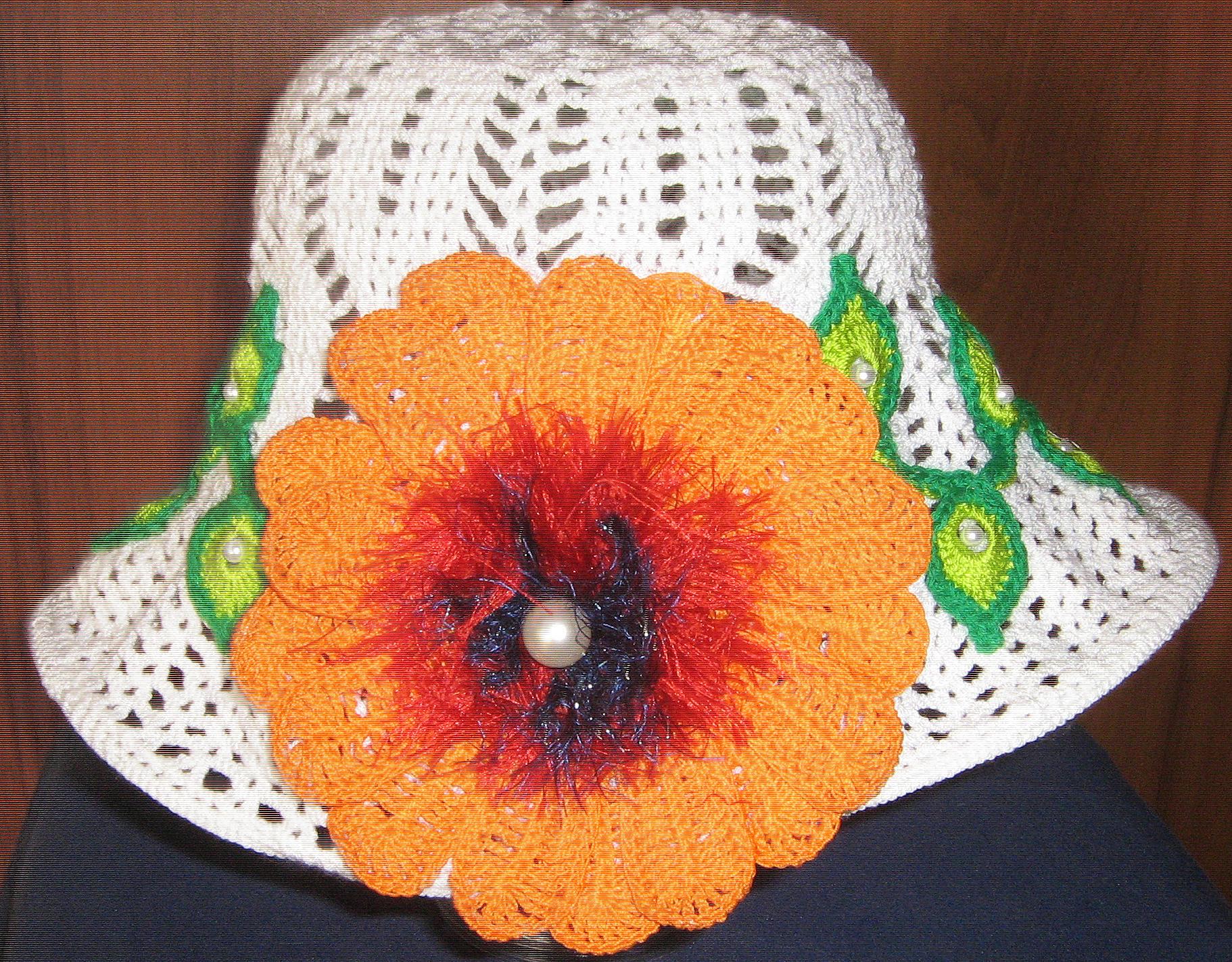 Шляпки вязаные ажурные сделано своими руками