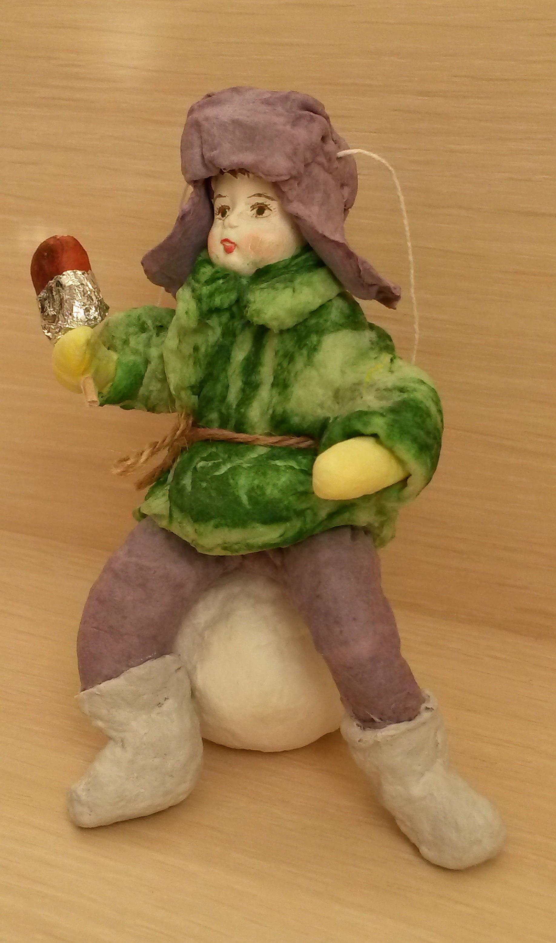 Ватная ёлочная игрушка Мальчик с эскимо сделано своими руками