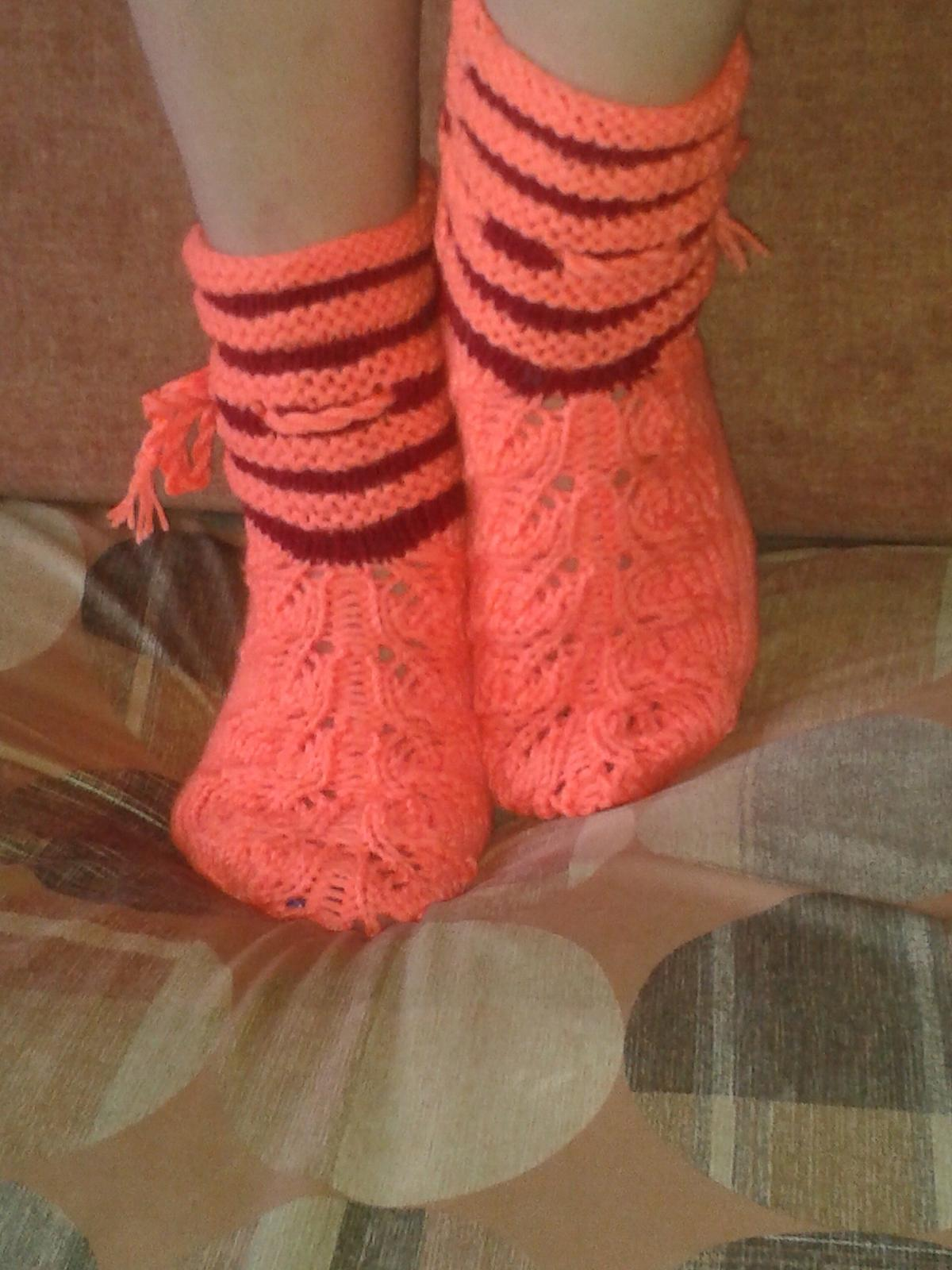 Вязание ажурных носков спицами мастер класс 48
