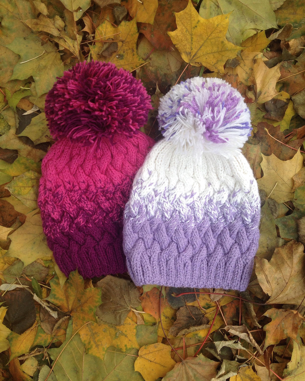 шапка узором плетенка градиент
