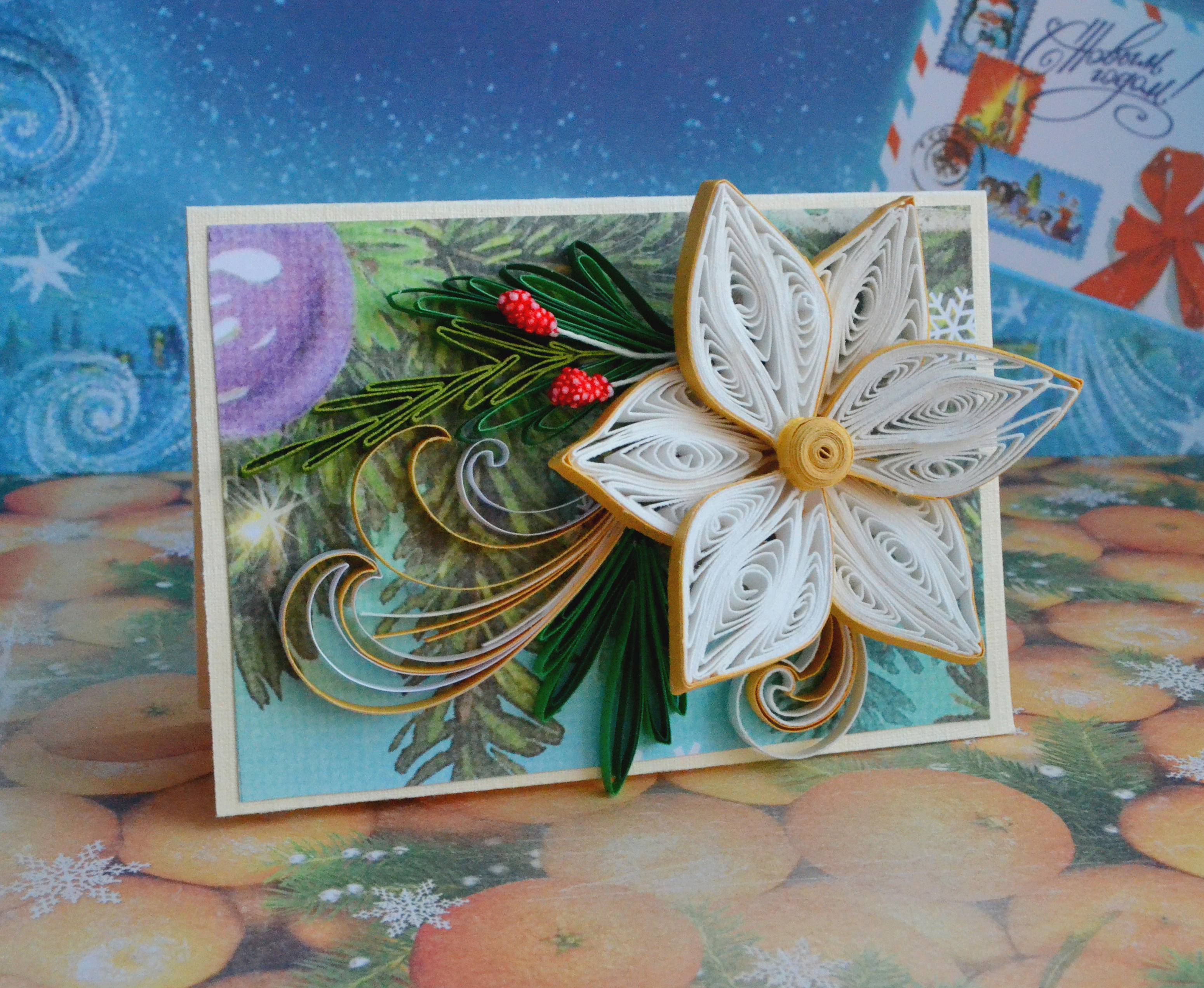 Квиллинг новогодняя открытка видео