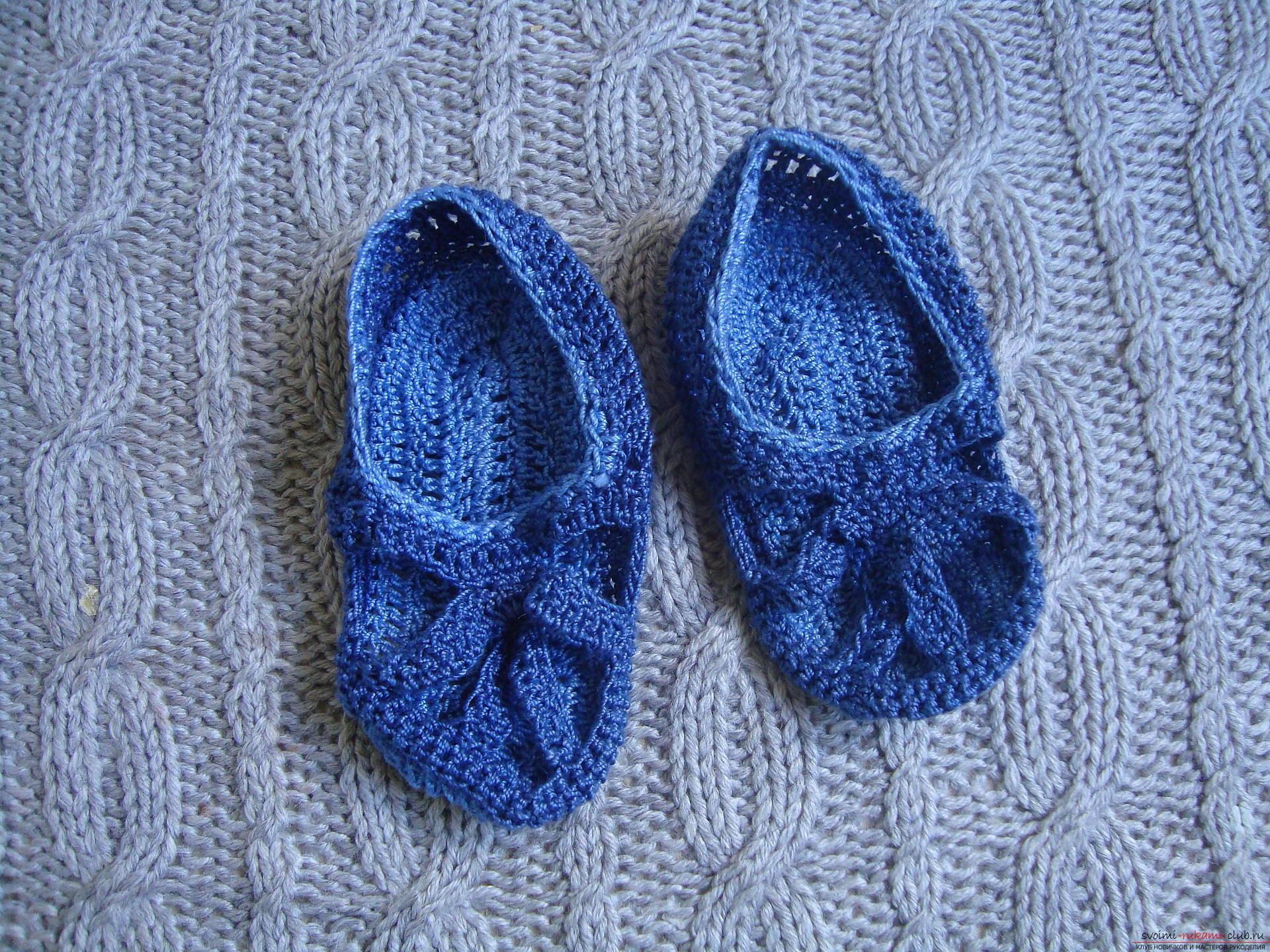 вязание спицами схема вязания детской обуви