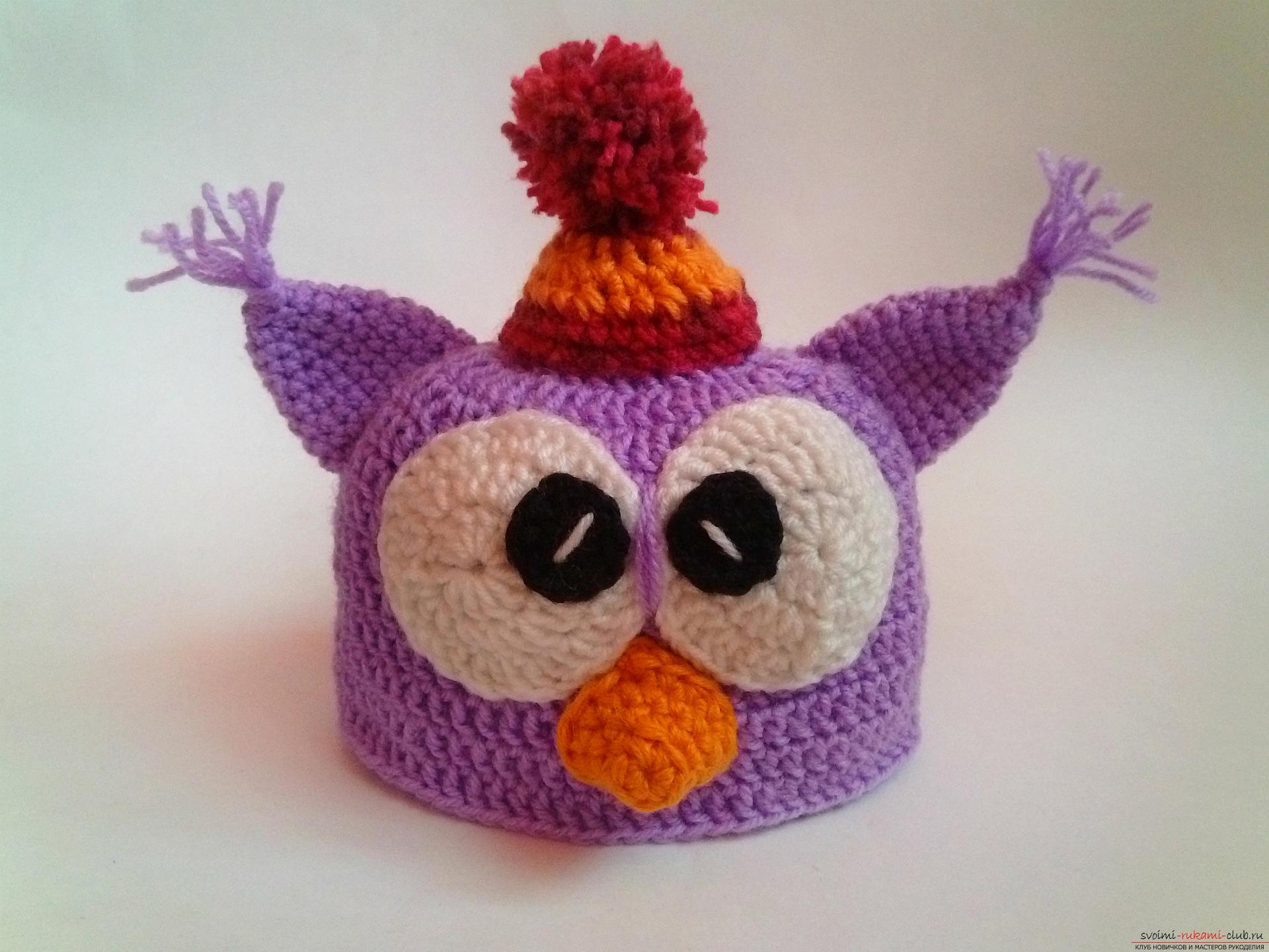 детская шапочка сова схема вязания