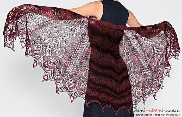 схема вязания шали с