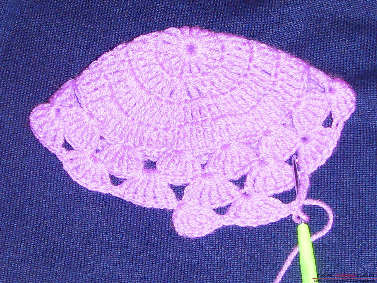 Цветок крючком на шапочку фото
