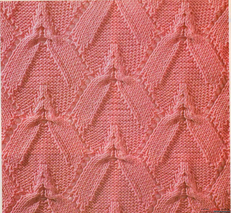 вязание спицами для начинающих схемы узор листья