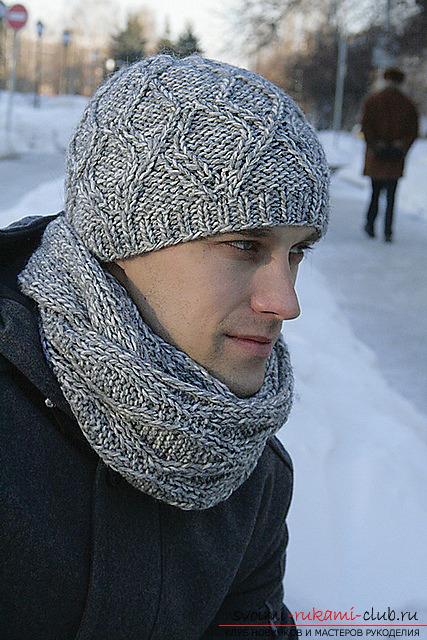 вязаная спицами зимняя мужская