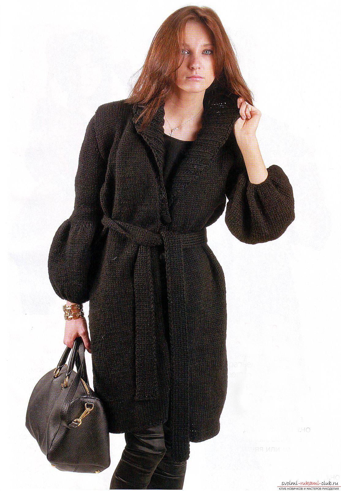 схема вязания элегантного женского пальто спицами. Фото №3