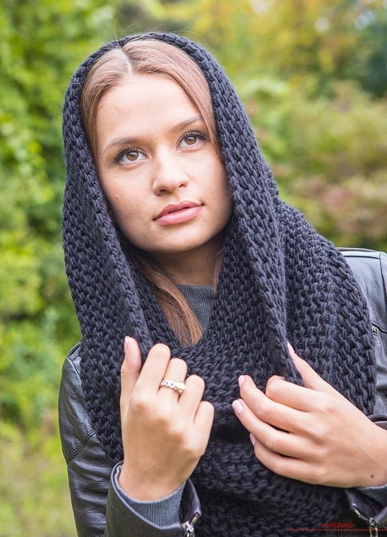 вязаная спицами шапка труба для женщины. Фото №2