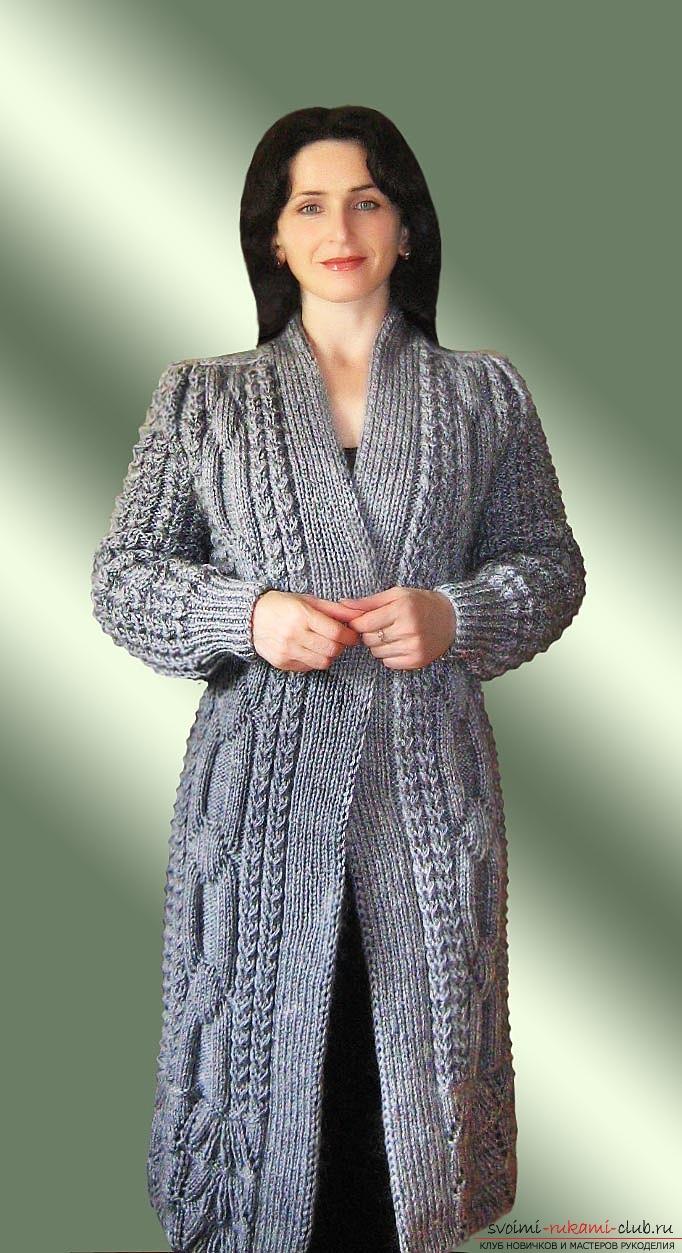 схема вязания элегантного женского пальто спицами. Фото №4