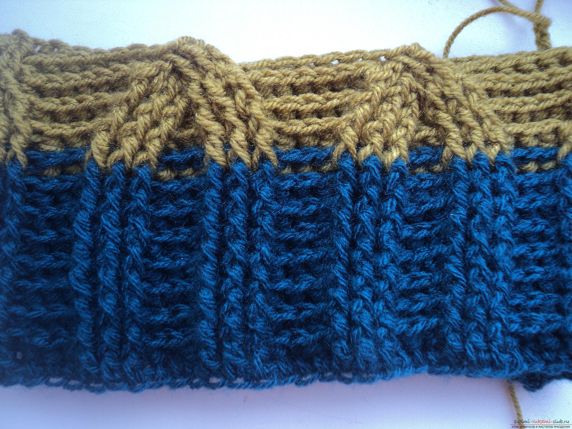 Вязание шапки с поперечной косой 21