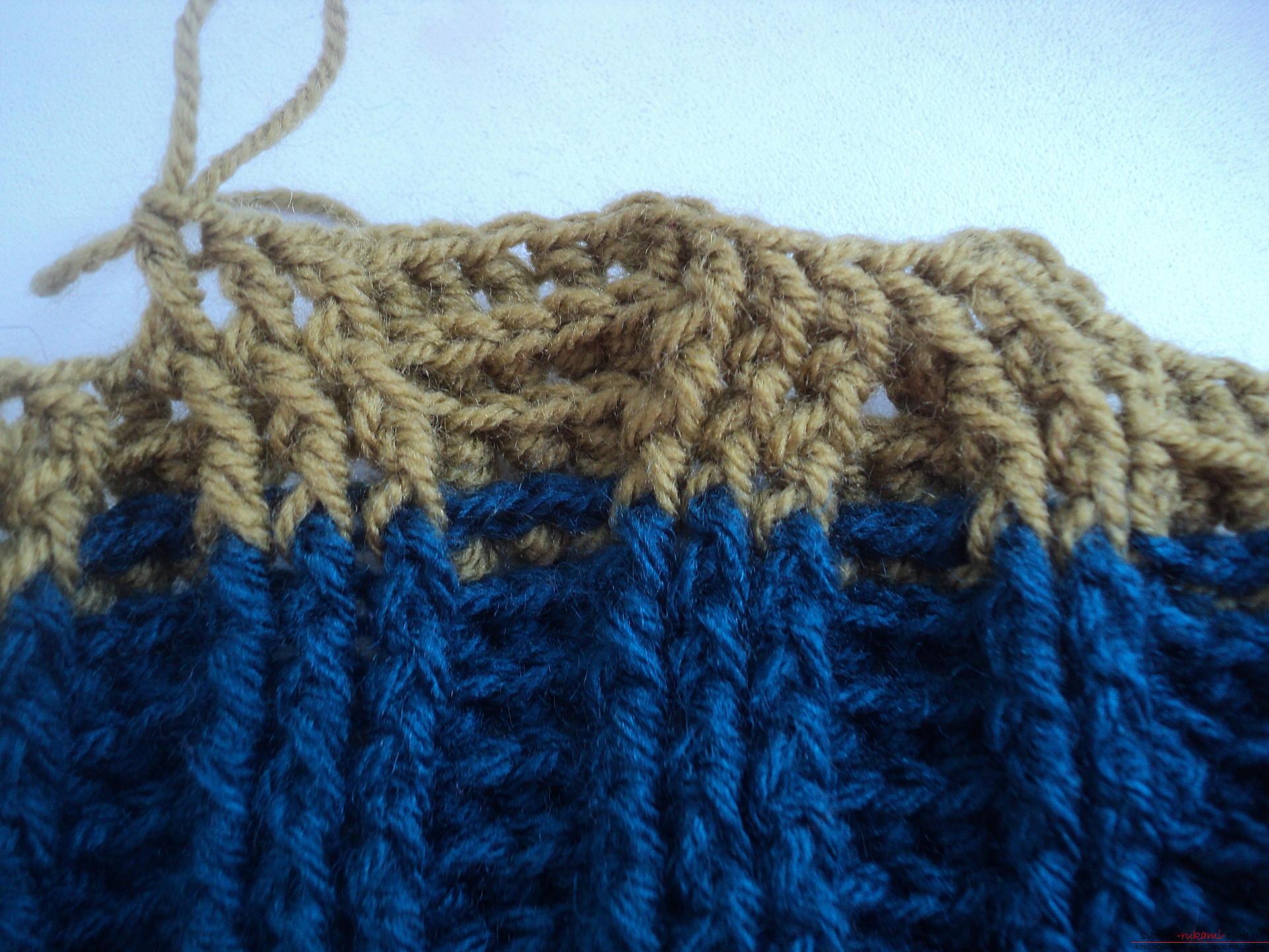 Вязание шапки с поперечной косой 97