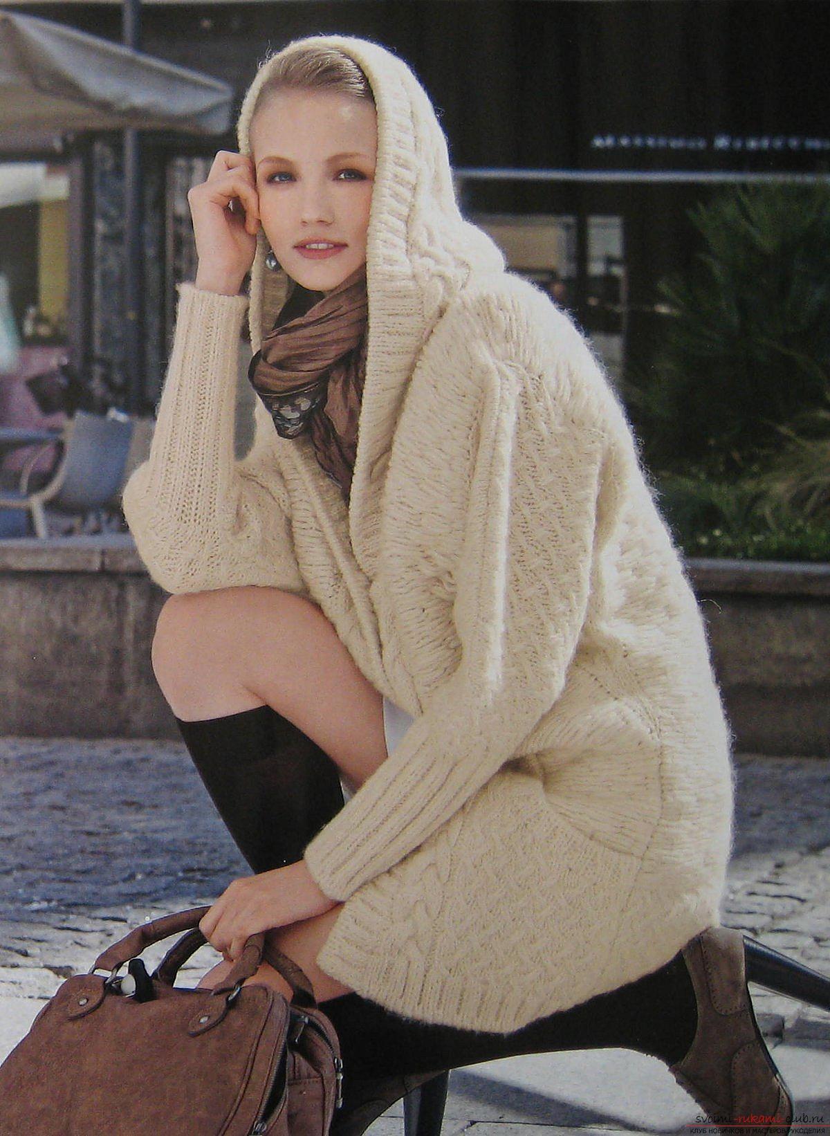 вязаное женское пальто спицами схема