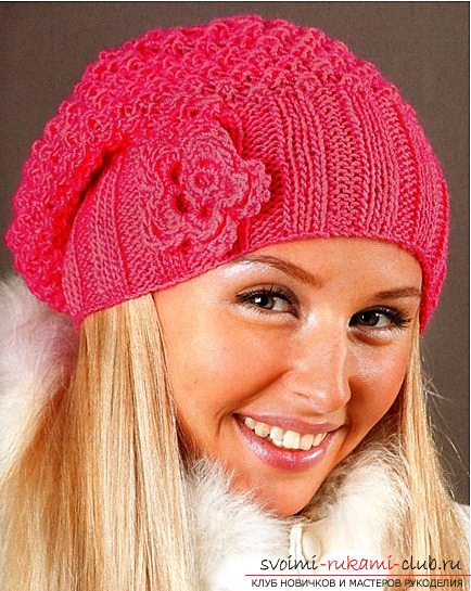 Спицами лучше всего вязать зимние и осенние шапки. . Женский вязаный шарф и шапочка из объемной пряжи украсят