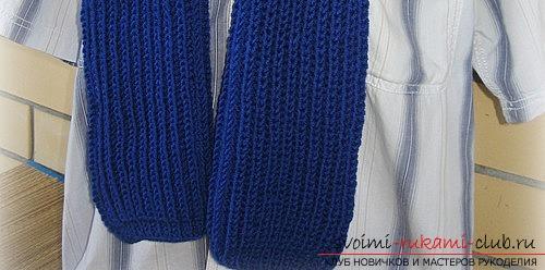 Вяжем мужской шарф английской резинкой. Фото №5