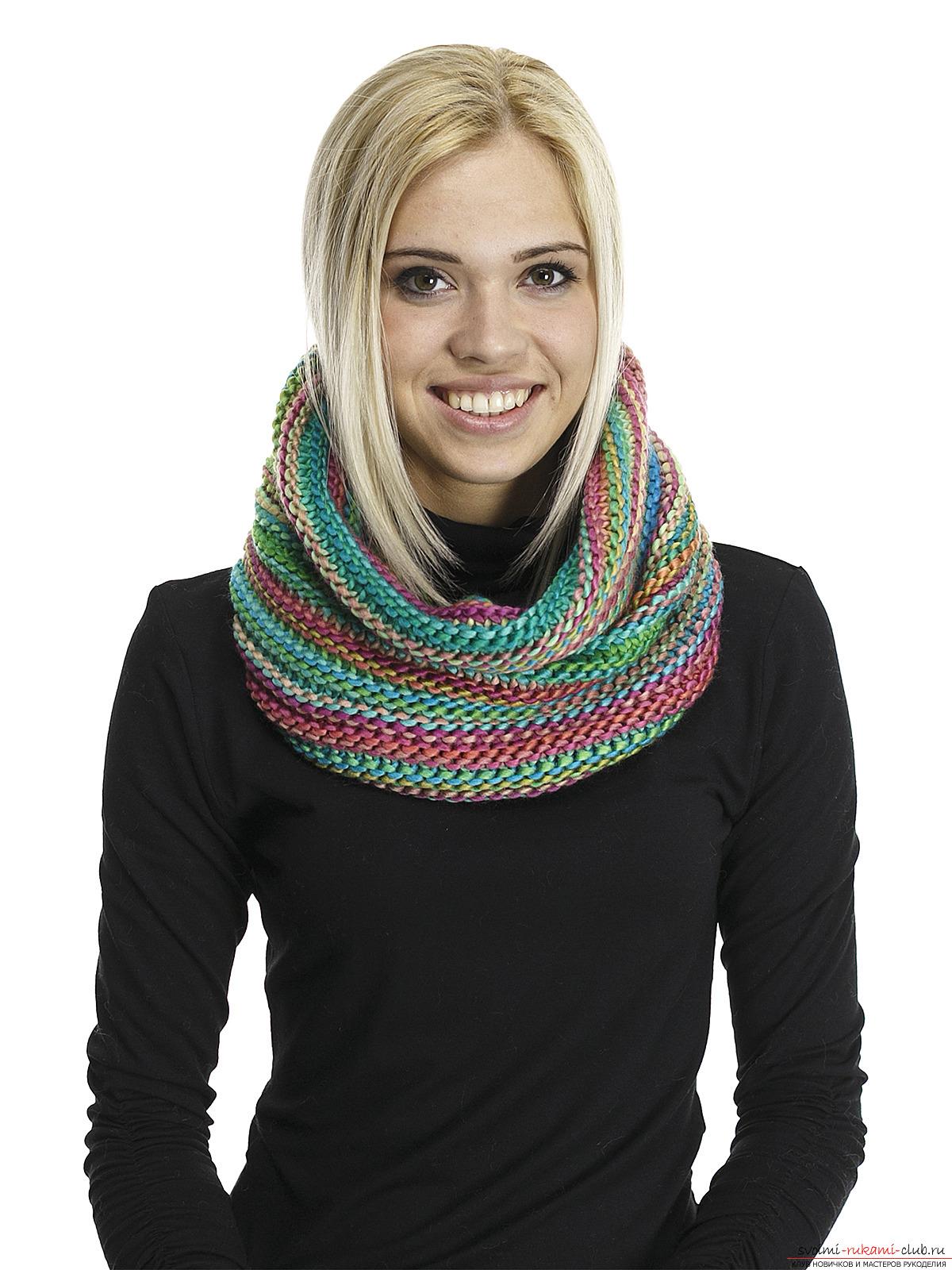 схема вязки крючком шарф труба