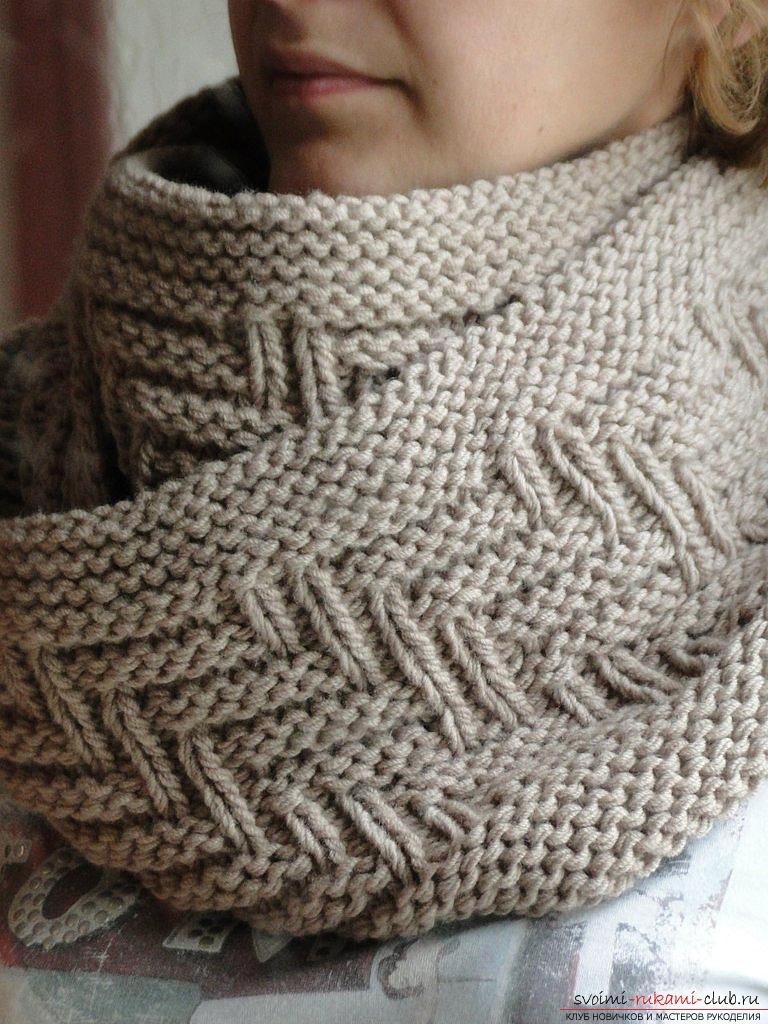 схема вязания мужской шарфа спицами