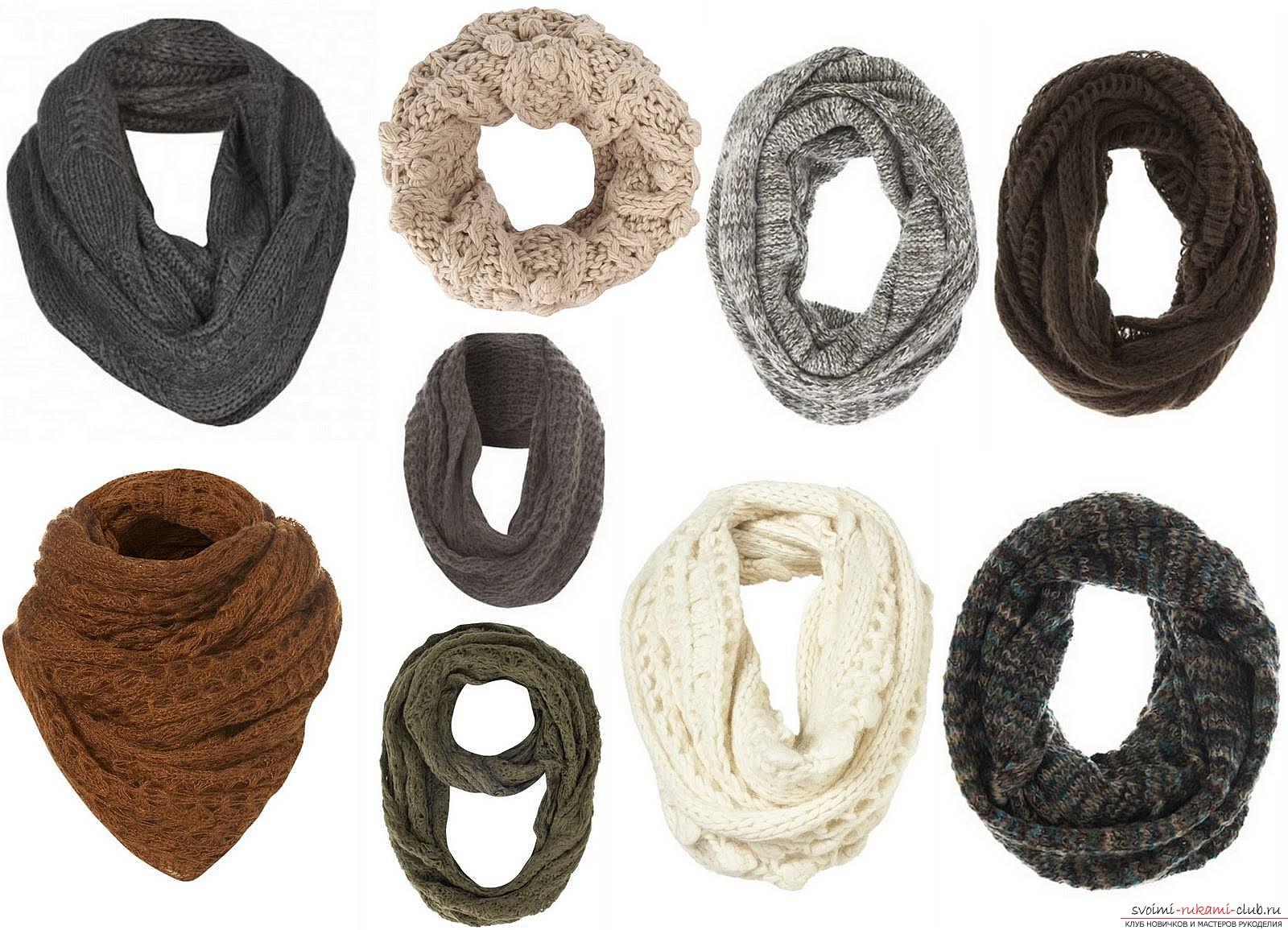 Вязаный спицами шарф-снуд. Подробное описание для начинающих и умелых мастериц со схемами.. Фото №1