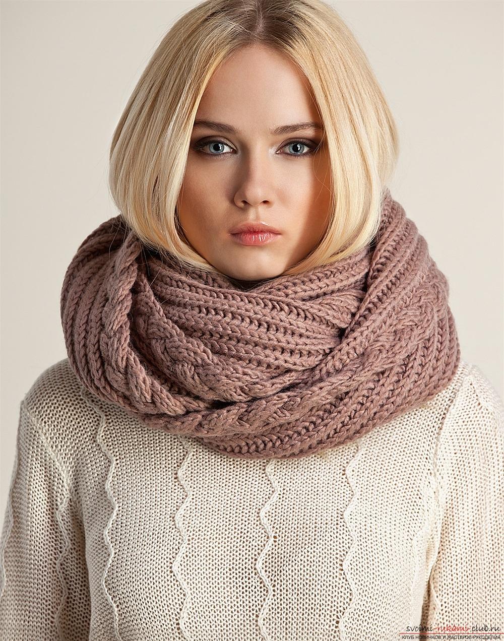 связать шарф хомут схема