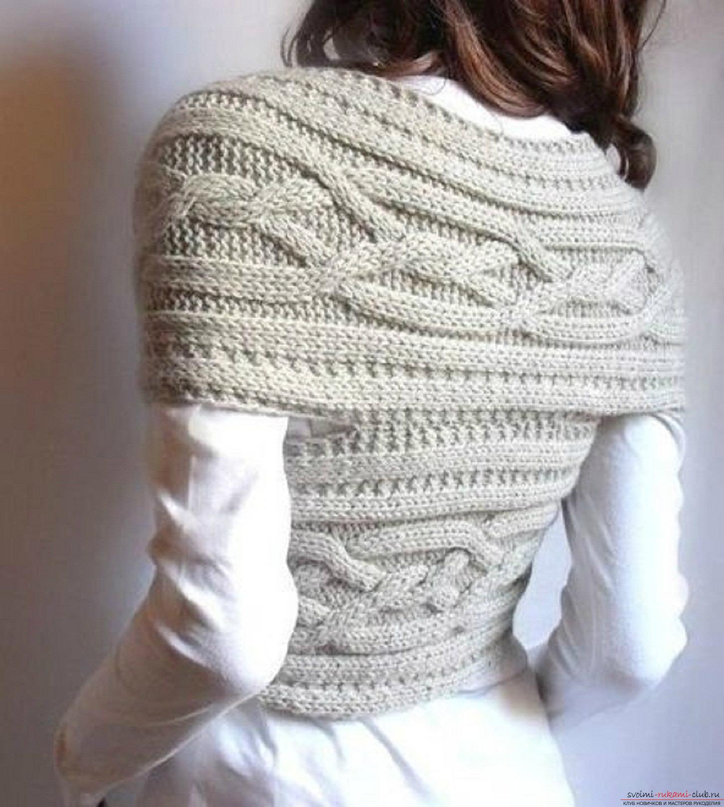 шарф воротник вязаный спицами для женщин. Фото №3