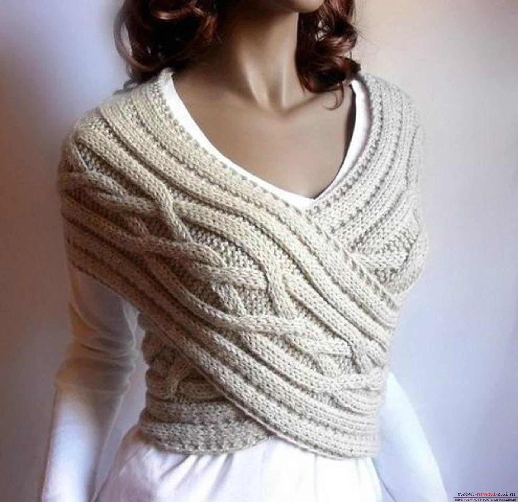 шарф воротник вязаный спицами для женщин. Фото №2