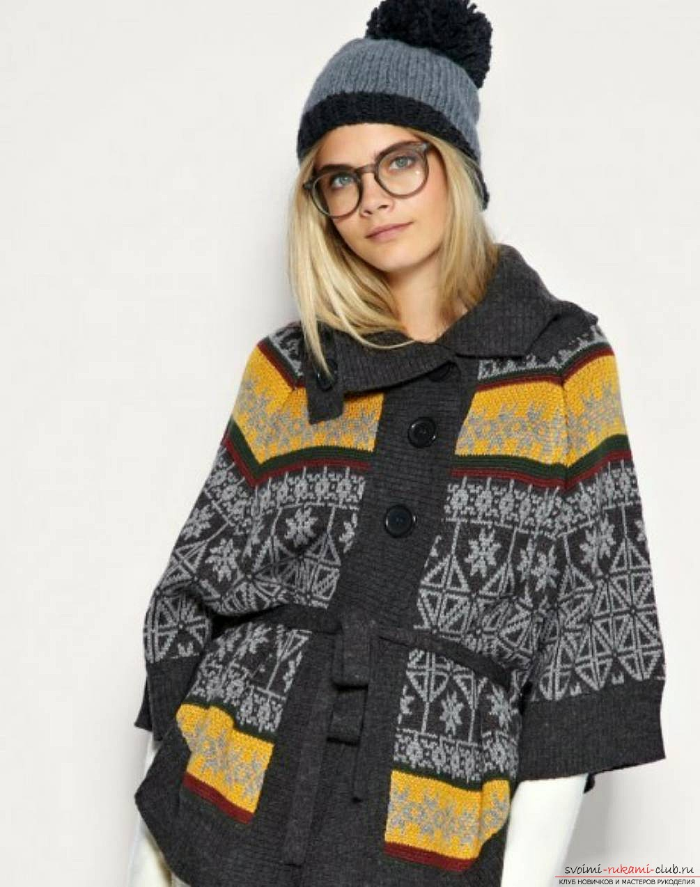 вязаный на спицах женский свитер с норвежским узором. Фото №6