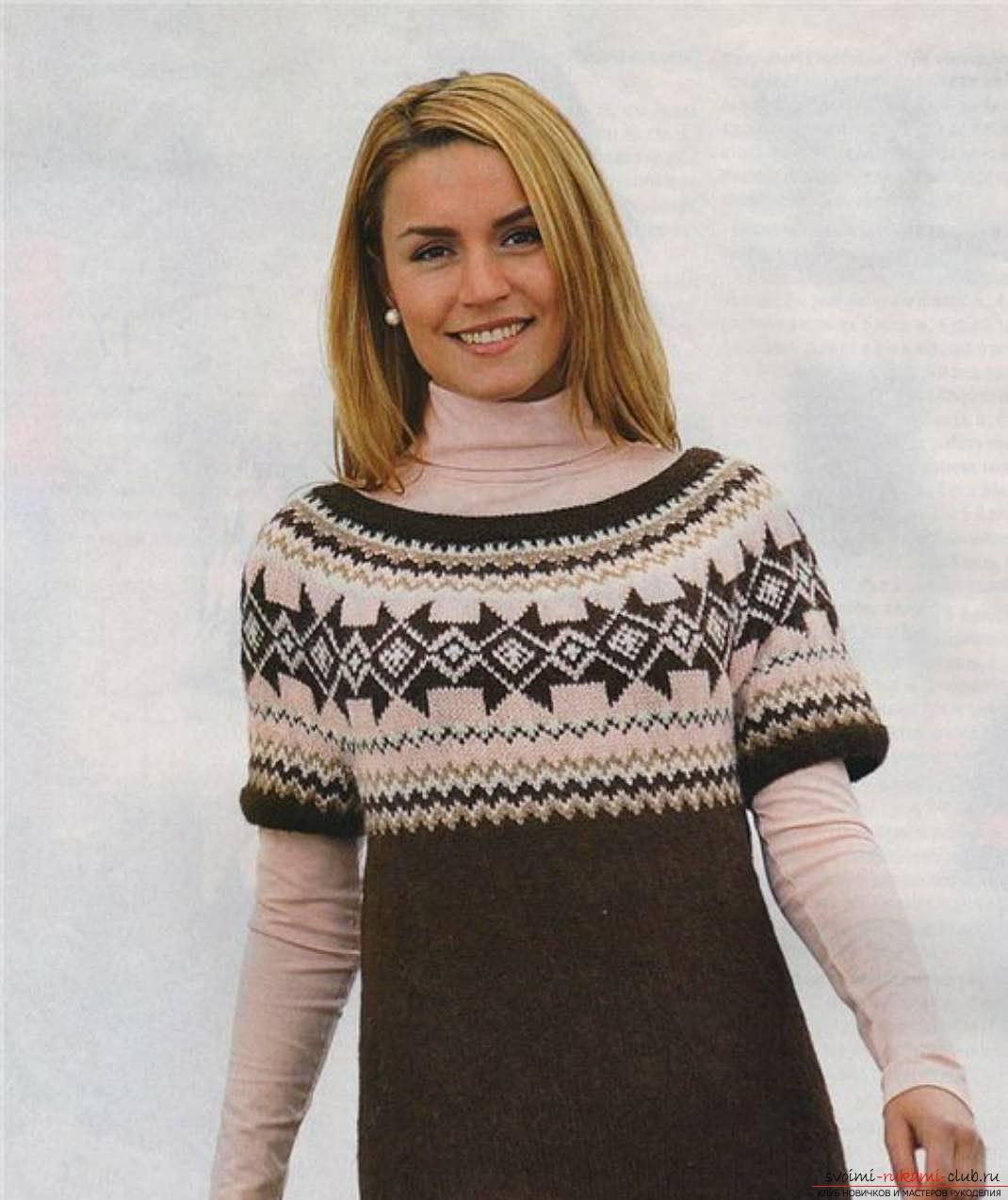 вязаный на спицах женский свитер с норвежским узором. Фото №5