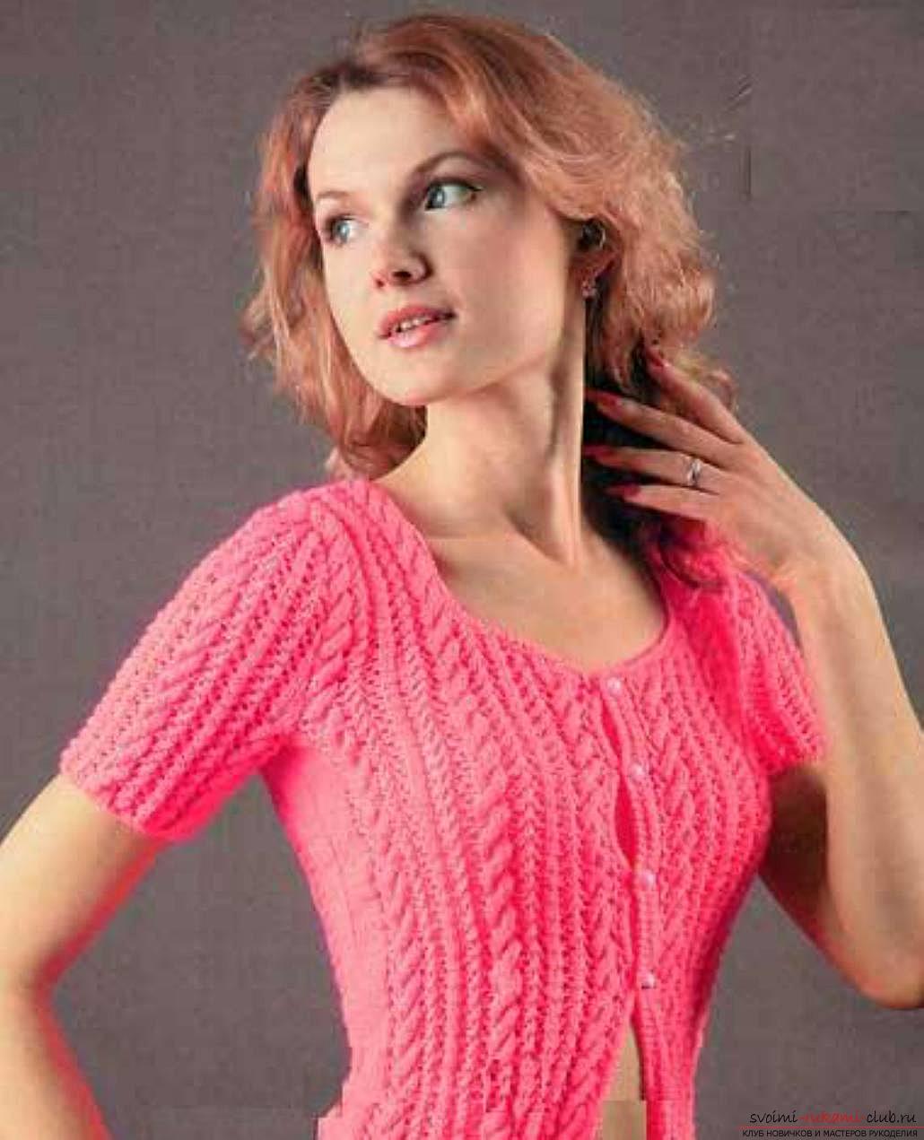 вязание женской ажурной кофты