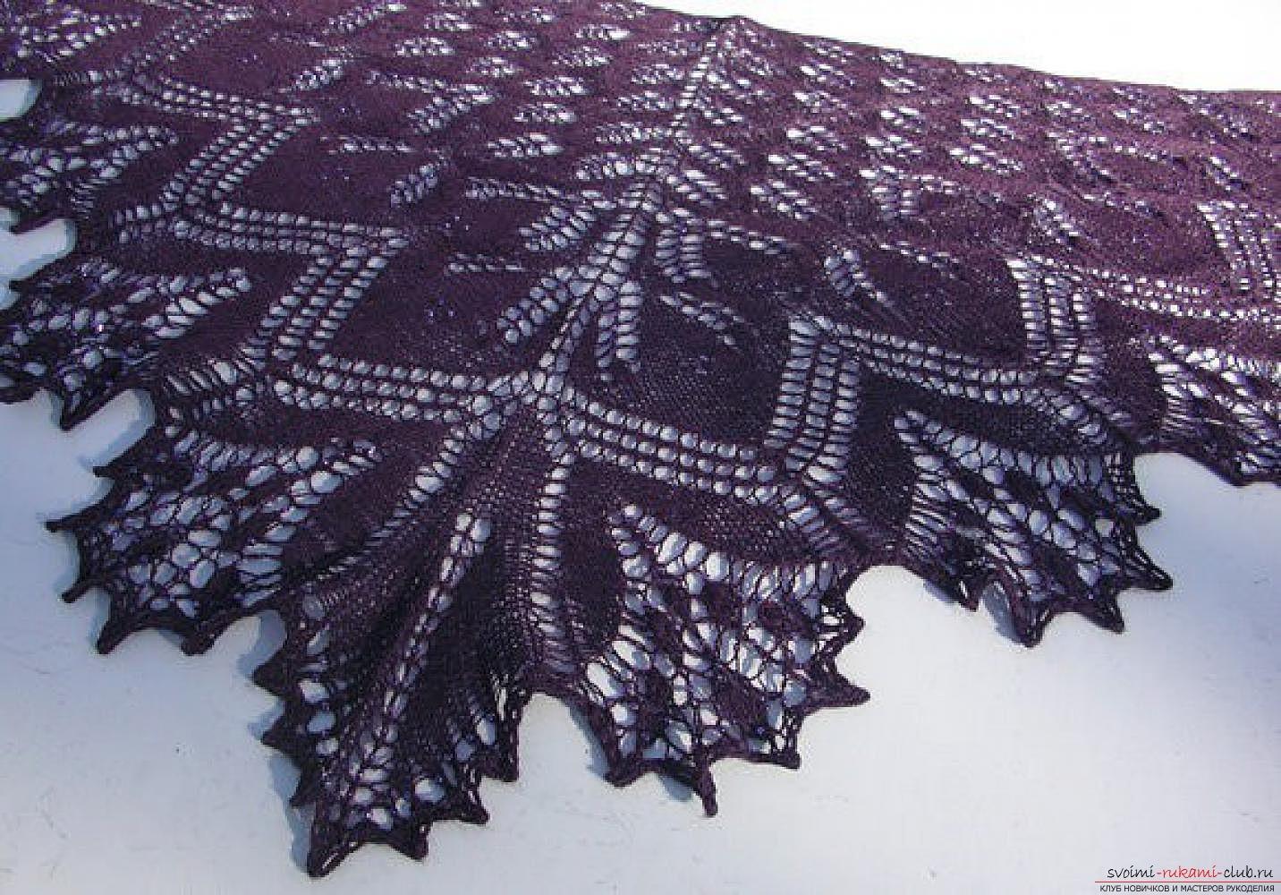 вязание шали спицами из мохера простые схемы