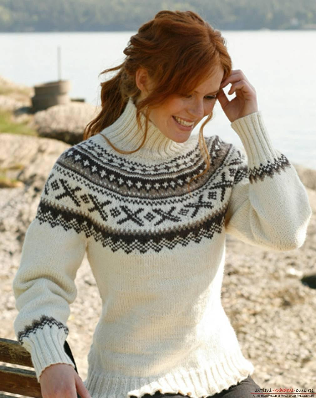 вязаный на спицах женский свитер с норвежским узором. Фото №1