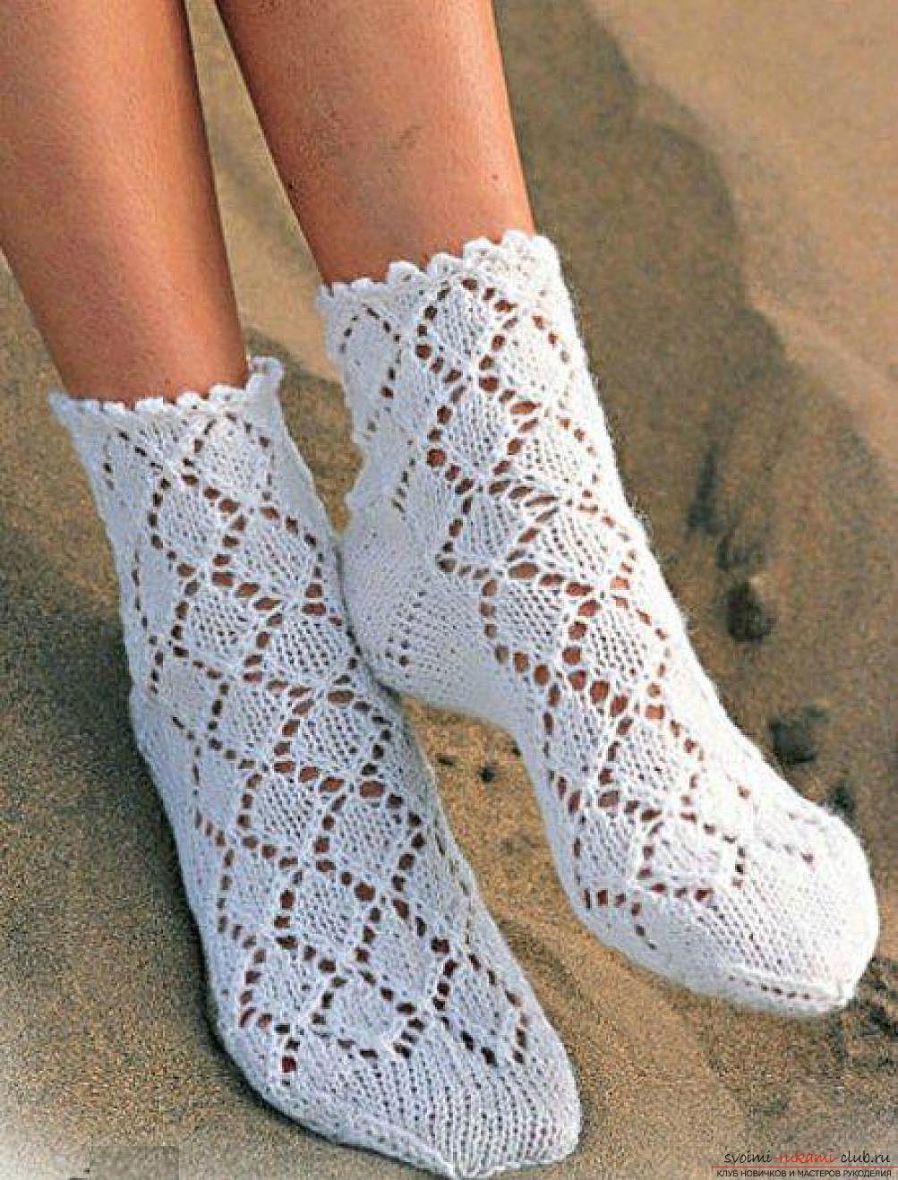 лёгкая схема вязания носок спицами