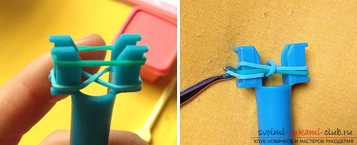 Схема плетения браслета из резинок на рогатке - подробные фото и описание процесса работы