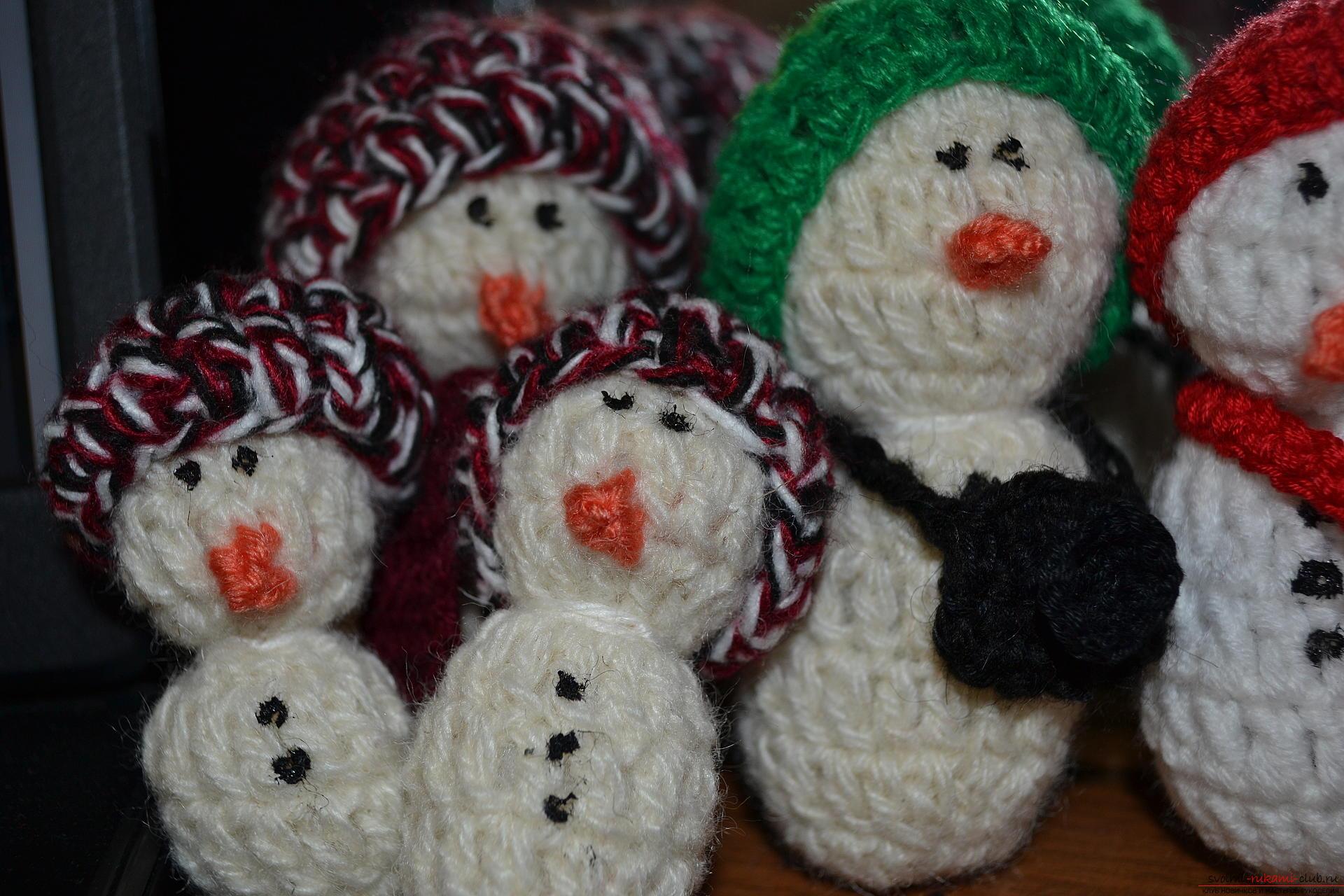 вязаный снеговик крючком схема вязания