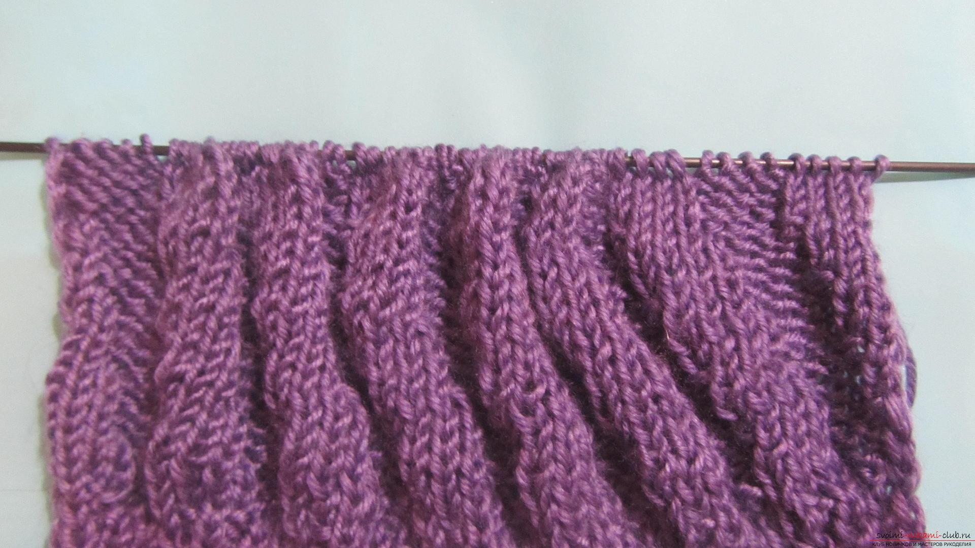 Подробный мастер-класс с фото покажет как вязать самой носки на двух спицах – спиральные носки.. Фото №9