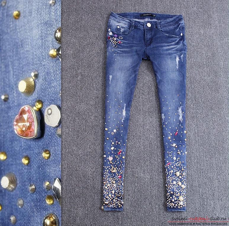 декор джинсов своими руками фото