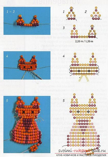 Виды разных игрушек из бисера со схемами плетения. Варианты схем плетения бисером игрушек с помощью разнообразных техник.. Фото №7