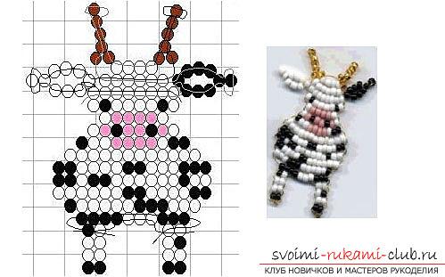 Виды разных игрушек из бисера со схемами плетения. Варианты схем плетения бисером игрушек с помощью разнообразных техник.. Фото №6