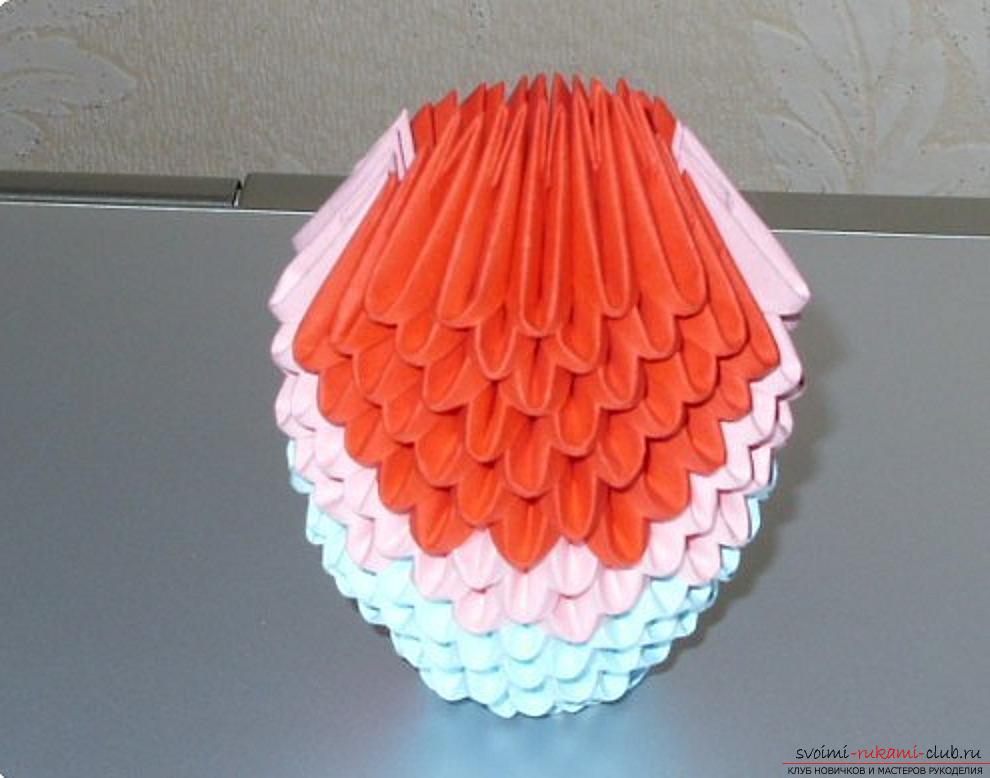 Попугай в технике модульное оригами. Фото №60