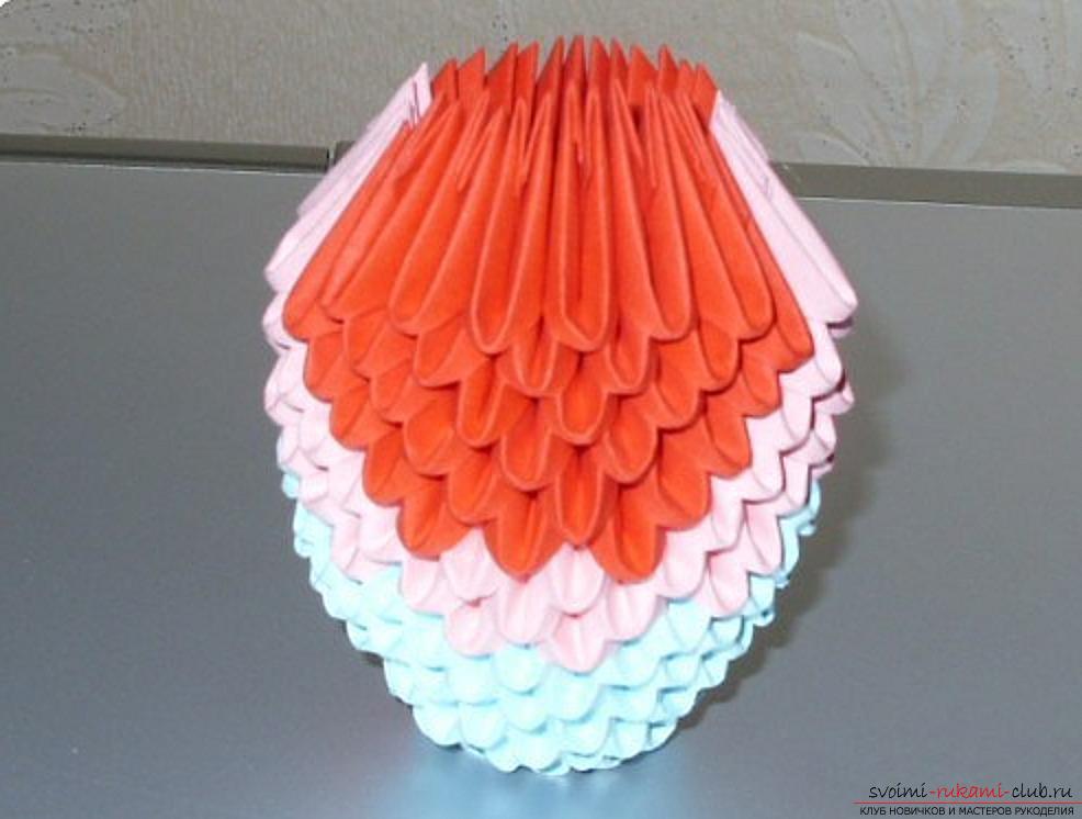 Попугай в технике модульное оригами. Фото №58