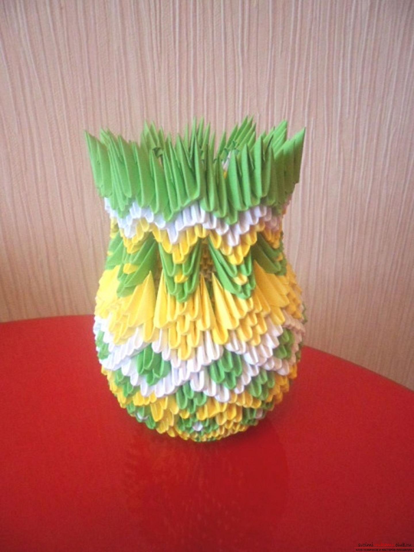 Модульное оригами ваза с цветами