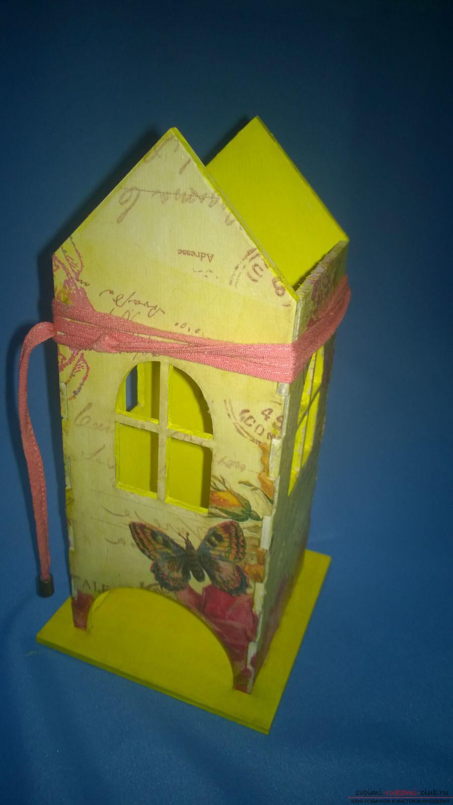 Мастер-класс научит как декорировать оригинальный чайный домик, используя декупаж. Фото №14