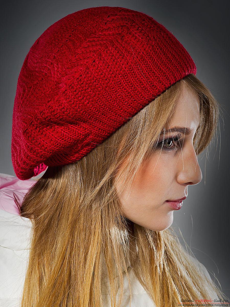 Вяжем спицами модный женский берет. Подробная схема с фото и описанием для начинающих рукодельниц