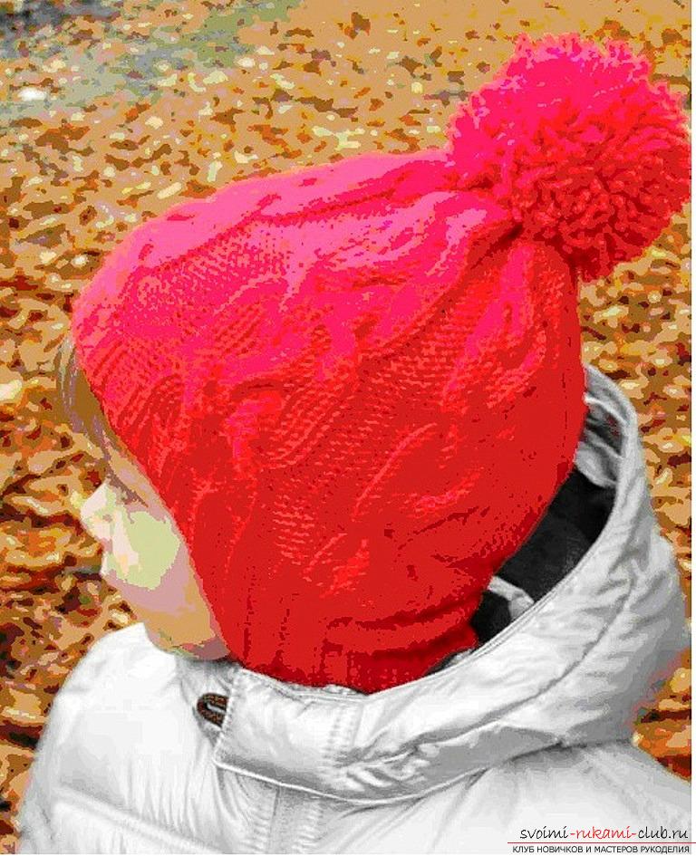 Зимняя шапочка на новорожденного спицы