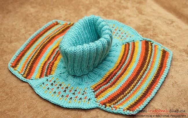 вязаный спицами шарфик-манишка