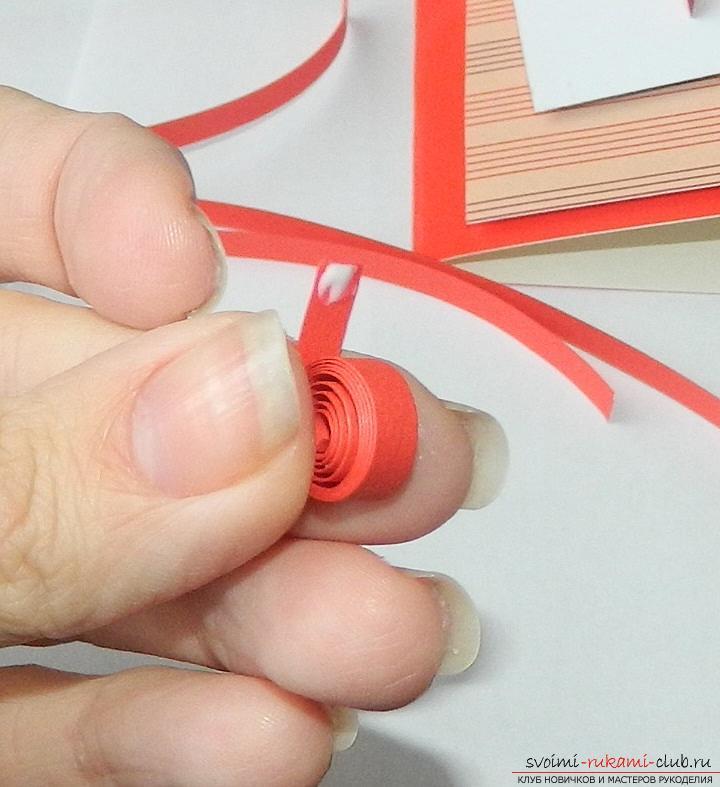 Этот мастер-класс научит как сделать валентинку своими руками в технике квиллинг.. Фото №11