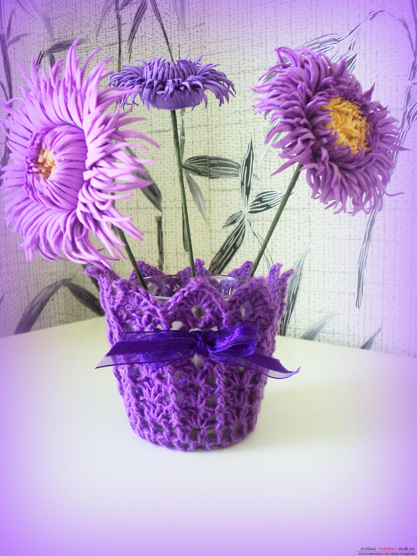 В этом мастер-классе мы будем вязать ажурную вазу крючком по схеме вязания крючком для начинающих.. Фото №1