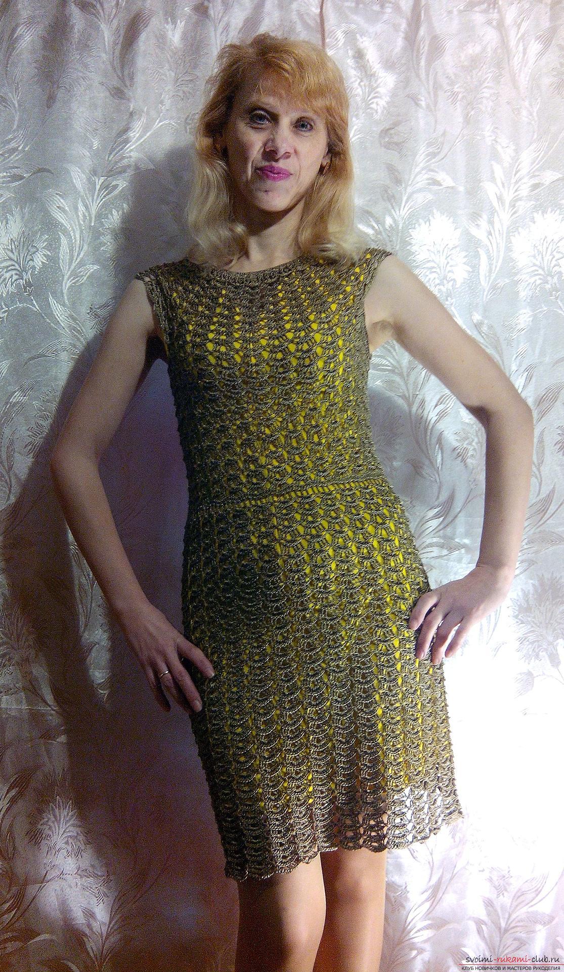 платье крючком к новому году схема
