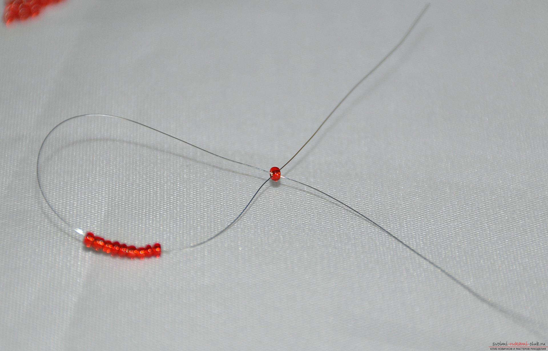 Этот подробный бисер мастер-класс научит плетению из бисера веточки земляники.. Фото №4
